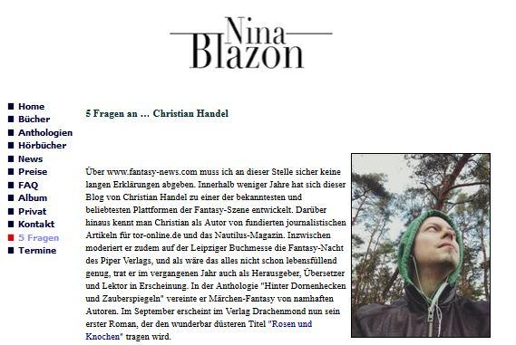 Nina Blazon interviewt mich zu Rosen & Knochen